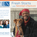 cover of 2014-2015 VLN annual report featuring a smiling man holding a small dog and text about VLN