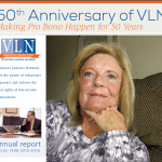 cover of VLN 2015-16 annual report with picture of smiling woman, VLN logo and text