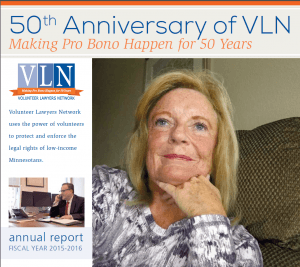 cover of 2015-16 VLN annual report featuring smiling blond woman, VLN logo, photos and text