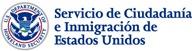 "blue and red logo on white background to the left of the text ""Servicio de Ciudada e Inmigracion de Estados Unidos"""