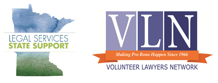 "logos for legal services state support in blue and green over state of MN outline, to the right: VLN logo reading ""VLN making pro bono happen since 1966 volunteer lawyers network"" with blue and white text and an orange banner"