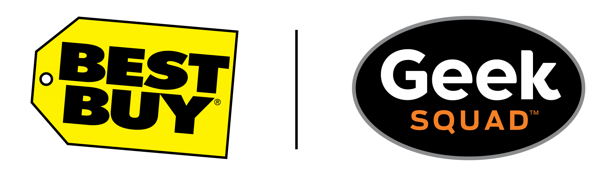 "two logos, left: yellow tag with black text reading ""BEST BUY"", right: black oval with whit text reading ""geek"" and orange text reading ""squad"""
