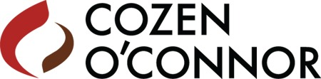 "abstract ellipse made of a maroon and a black swish design to the left of black sans serif capital letters in two lines reading ""cozen o'connor"" logo"