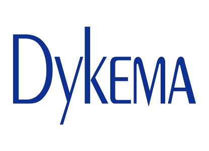 "Blue capital letters reading ""Dykema"""