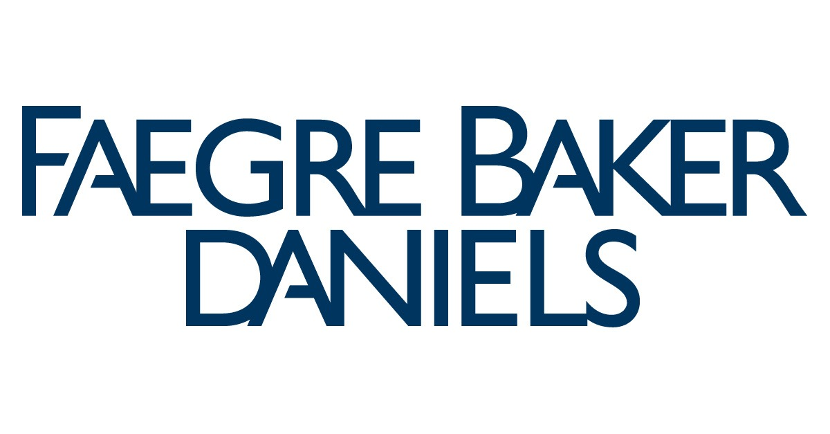 all caps blue font reading faegre baker daniels on two lines of text logo