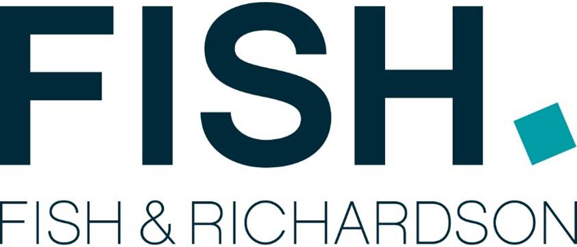 "large black capital sans serif letter spelling ""fish"" to the left of an off-kilter teal square above smaller similar letters reading ""fish & richardson"" logo"