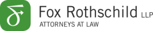 "logo with black text on white background that reads ""fox rothschild LLP attorneys at law"" to the right of a green symbol"
