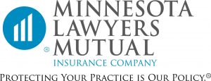 "blue circle containing a white 3-bar ascending graph to the left of black serif text in three lines reading ""MINNESOTA LAWYERS MUTUAL"" over one line of blue text reading ""INSURANCE COMPANY"" all over black text reading ""PROTECTING YOUR PRACTICE IS OUR POLICY"" logo"