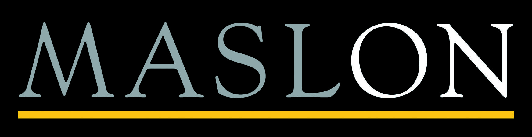 "gray and white letters ""MASLON"" underlined in yellow on a black background logo"