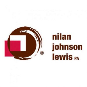 "abstract art a large, rough-edged maroon circle with a white square in the center and an offset red square all to the left of maroon sans serif text in three lines reading ""nilan johnson lewis PA"" logo"