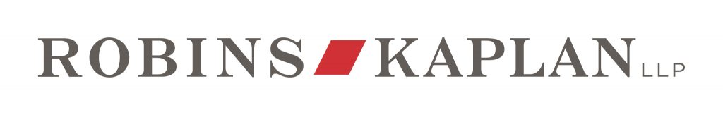 """black serif text reading """"robins kaplan LLP"""" with a red polygon between the first two words logo"""