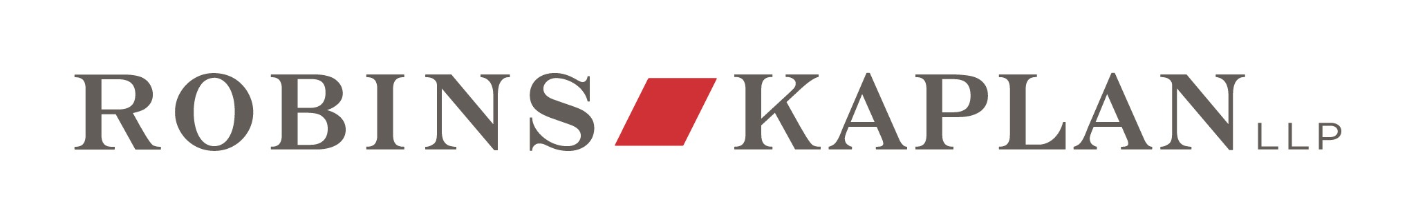 "black serif text reading ""robins kaplan LLP"" with a red polygon between the first two words logo"