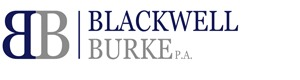 "back-to-back capital letter Bs in purple then grey to the left of two lines of purple then grey text reading ""blackwell burke P.A."" logo"