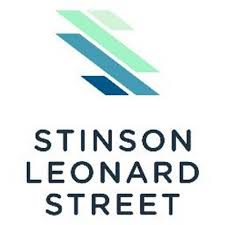 "four diagonal lines in a gradient of light green to dark blue above black sans serif text that reads ""stinson leonard street"" in three stacked lines logo"