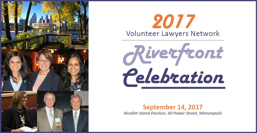 "two photos of people at the 2016 riverfront celebration and one of the Nicollet Island Pavilion to the left of text reading ""2017 volunteer lawyers network riverfront celebration"" click image for more information"