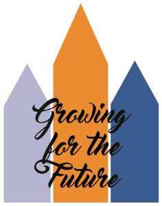 "three pentagons in light blue, orange and dark blue behind black script text reading ""growing for the future"""