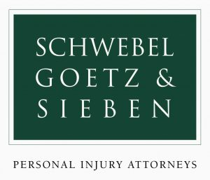"dark green square under white serif text reading ""schwebel goetz & sieben"" in 3 lines above green serif text reading ""PERSONAL INJURY ATTORNEYS"" logo"