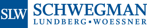 "blue square containing white serif letters ""SLW"" to the left of large blue serif letters reading ""SCHWEGMAN"" above smaller blue serif letters reading ""LUNDBERG WOESSNER"" logo"