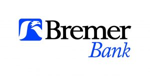 "stylized white eagle illustration in a blue rounded square to the left of black serif font reading ""Bremer"" above blue italicized serif font reading ""Bank"""