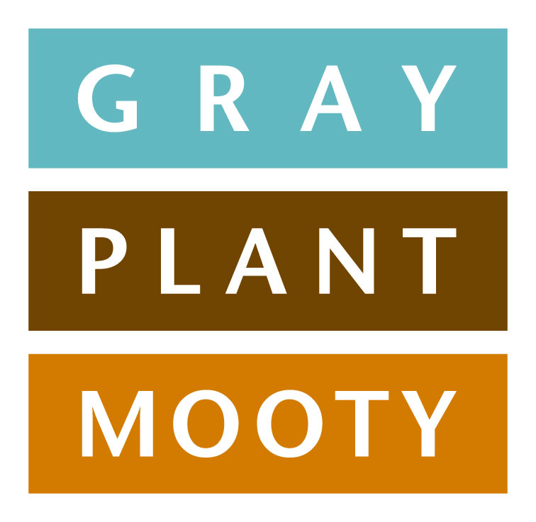 "three rectangles stacked with blue on top of brown on top of orange containing one word in white sans serif text each reading ""GRAY PLANT MOOTY"""