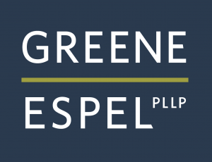 "dark blue rectangle containing two lines of white sans serif text reading ""GREENE ESPEL PLLP"" divided by an olive green horizontal line"