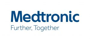 "blue serif font reading ""Medtronic"" above smaller similar font reading ""Further. Together."""