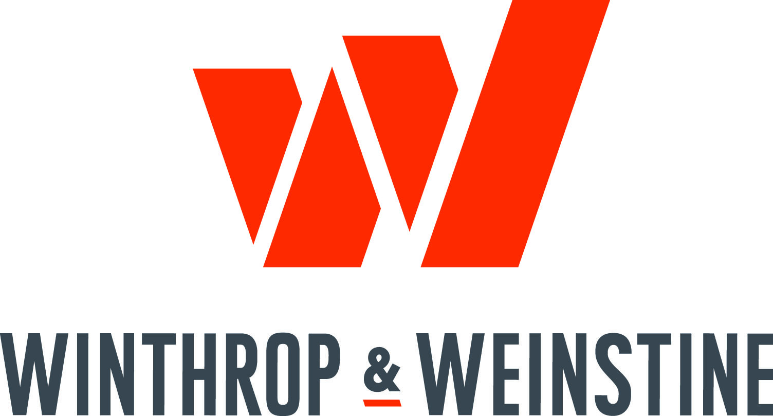 "white ""W"" with a stylized orange drop shadow above gray sans serif text reading ""WINTHROP & WEINSTINE"""