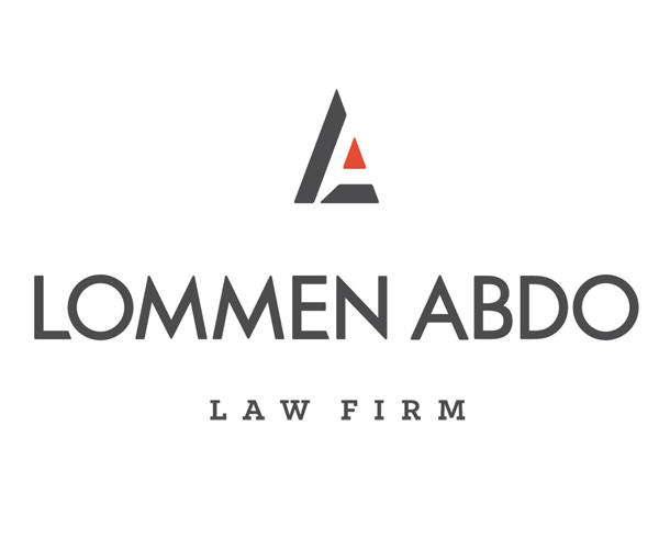 "abstract art three-part red triangle above dark gray sans serif text reading ""LOMMEN ABDO LAW FIRM"""