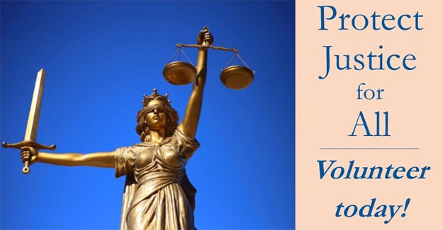 Photo of a golden statute of lady Justice against a blue background to the left of an orange background under blue text reading: Protect Justice for All. Volunteer Today!
