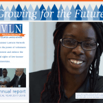 cover of VLN's FY2018 annual report with a photo of a smiling client and blue and white text