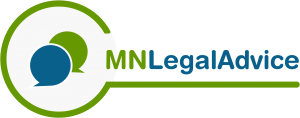 green and blue logo with two speech bubbles to the left of URL reading MNLegalAdvice.org