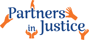"blue text reading ""Partners in Justice"" surrounded by orange hand icons adding the letters"