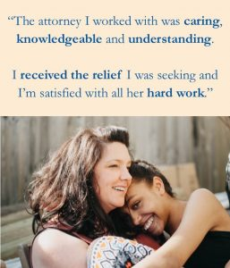 client quote above a photo of a person sitting on another person's lap both smiling exterior