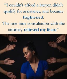 client quote above a photo of a person looking down and to the side with eight hands reaching toward them