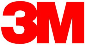 large block letters red 3M logo