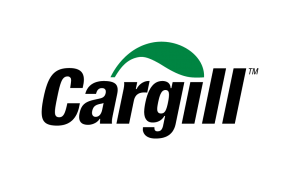 black sans serif font reading Cargill under stylized green leaf logo