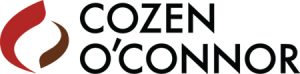 two-part variegated red circle to teh left of black sans serif text reading COZEN O'CONNOR logo