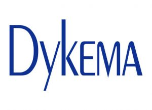 blue sans serif text reading DYKEMA logo