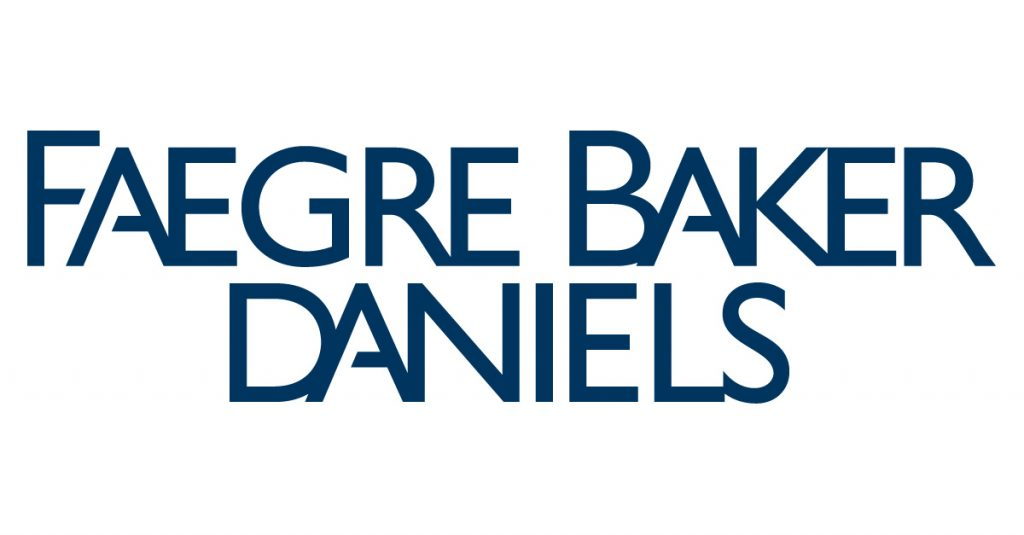 sans serif all caps font in dark blue reading FAEGRE BAKER DANIELS logo