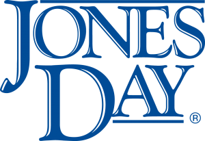 blue all caps serif font reading JONES DAY logo