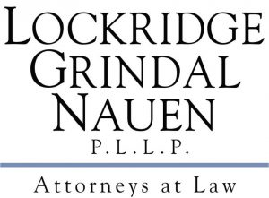 serif font in several lines reading LOCKRIDGE GRINDAL NAUEN P.L.L.P Attorneys at Law logo