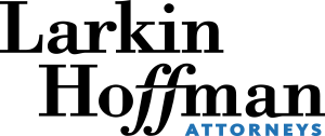 black serif font in two lines reading Larkin Hoffman above blue sans serif text reading ATTORNEYS logo