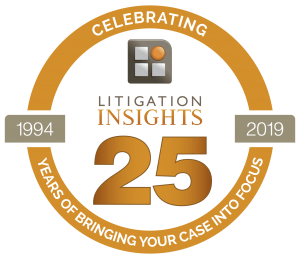 gold circle surrounding Litigation Insight's logo and the number 25 for a 25 year anniversary