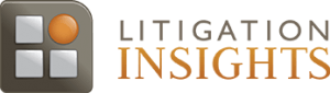 """gray-brown square containing three gray squares and an orange circle to the left of two lines of text in gray-brown and orange reading """"LITIGATION INSIGHTS"""" logo"""