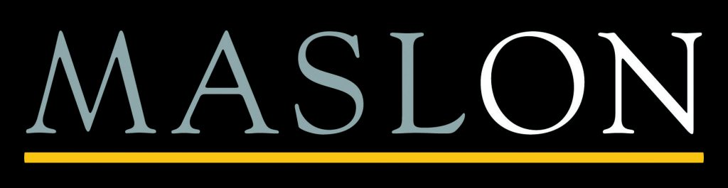 black and gray serif font underlined in yellow reading MASLON in a black rectangle logo