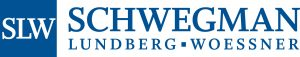 blue square containing three white serif letters SLW to the left of serif text reading SCHWEGMAN LUNDBERG WOESSNER logo