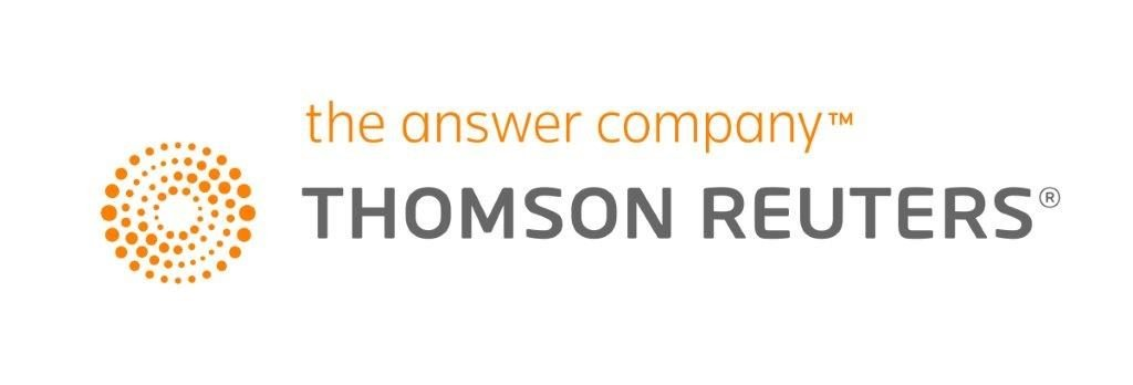 orange pointillist swirl next to orange and grey sans serif text reading the answer company THOMSON REUTERS logo