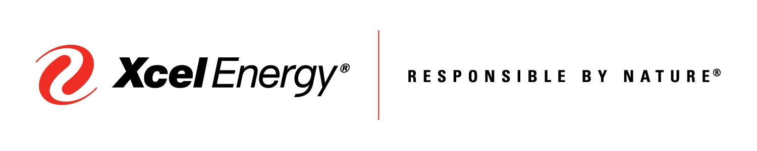 red swirl to the left of sans serif text reading Xcel Energy | responsible by design logo