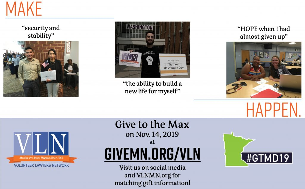 slide advertising Give to the Max Day at GiveMN.org/VLN