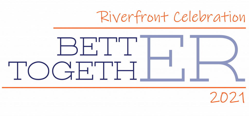 blue and orange logo reading Riverfront Celebration 2021 Better Together